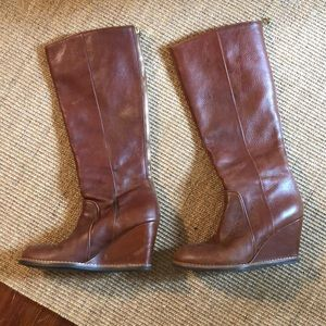 Kate Spade cognac leather wedge boots